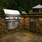 Outdoor Kitchen With Custom Lighting in Houston