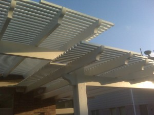 Example of a Houston Pergola design option for aluminum pergolas.