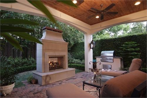 Houston Patio Covers With A Cedar Ceiling Amp Fireplace