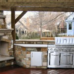 Outdoor Kitchens With Rustic Wood Pergola