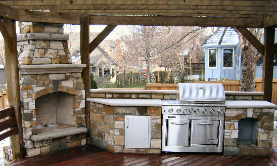 Outdoor Kitchens Built With Rustic Wood Pergola