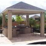 Outdoor Kitchen With Covered Patio In The Woodlands