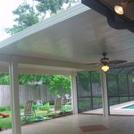 Covered Patio Houston Tx With Patterned Concrete