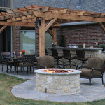 Custom Cedar Pergola in Katy With Outdoor Kitchen & Firepit